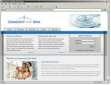Community First Bank website